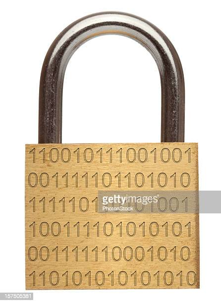 Data security - Brass padlock with binary code