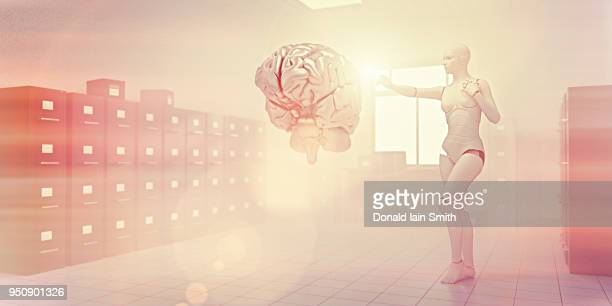 Data storage concept: female robot reaches out to touch human brain in dream-like white room filled with filing cabinets