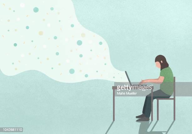 data streaming from woman using laptop - illustration stock-fotos und bilder