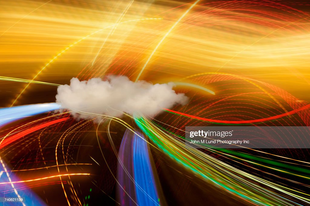 Data streaming to cloud : Stock Photo