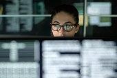 Data woman monitors