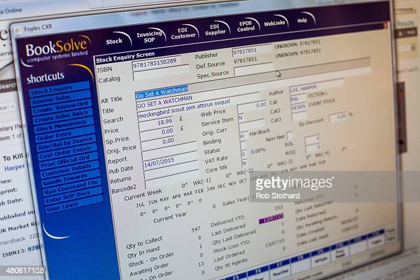 A database entry for 'Go Set A Watchman' by Harper Lee is seen on a computer screen at Foyles book shop on July 14 2015 in London England Go Set a...