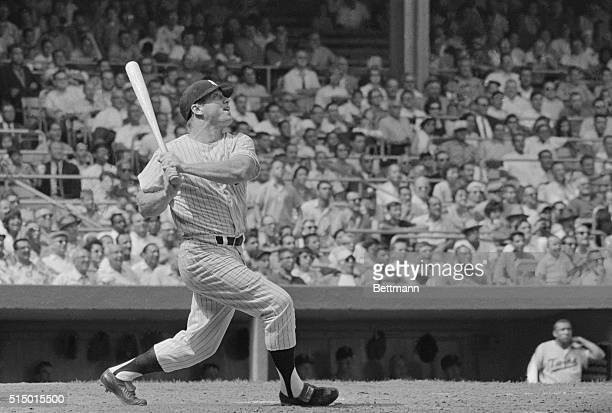 Date filed 8/6/1961New York NYORIGINAL CAPTION READS Yankees' slugger Mickey Mantle creeping up on Babe Ruth's homerun record is about to blast...