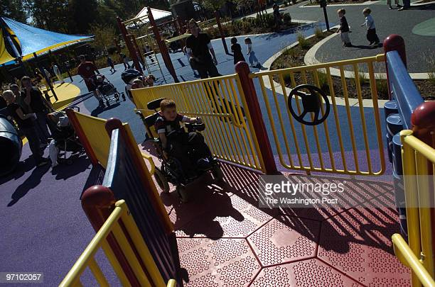 Oct 9 2006 Slug mepark assignment Photographer Gerald Martineau McLean VA handicapped park opens Tommy Bourgeois from Centerville VA plays on one of...