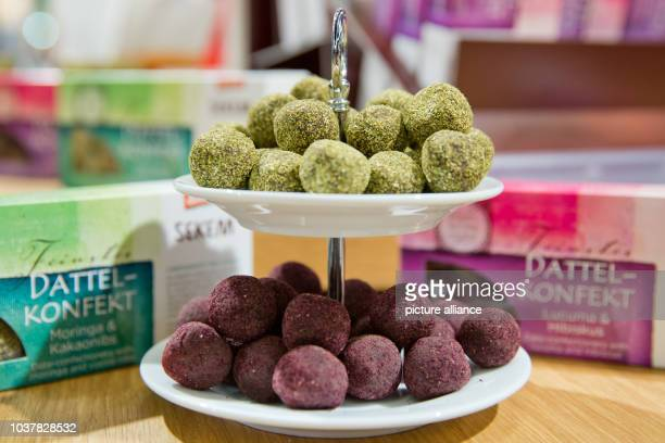 Date sweets with Moringa cacao nibs and Lucuma Hibiscus can be tasted at the Davert stand at the BioFach 2016 organic food trade fair in Nuremberg...