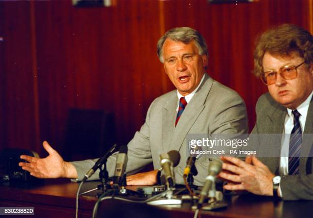 England soccer team manager Bobby Robson with Football Association Chief Executive Graham Kelly It was announced today Bobby Robson has agreed to...