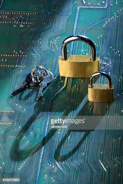Datensicherheit Vorhaengeschloesser auf einer Computerplatine