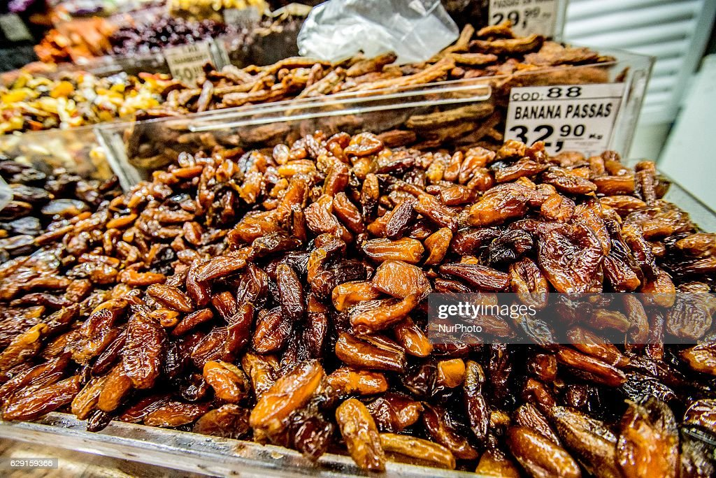 Dates at the Municipal Market (Mercadao), in Sao Paulo, Brazil on 11 December 2016. In addition to the items of vegetables, butcher, fishmonger and emporium (national and imported) gathered in a single space, also has restaurants and snack bars that offer chips with the city's face.