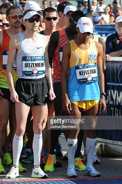 S Dathan Ritzenhein and Meb Keflezighi at the start of the Olympic Team Trials Marathon on February 13 2016 in Los Angeles California