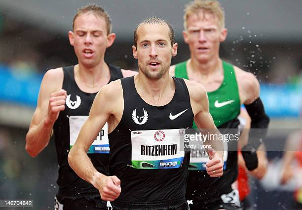 Dathan Ritzenhein competes in the men's 10000 meter final during Day One of the 2012 US Olympic Track Field Team Trials at Hayward Field on June 22...