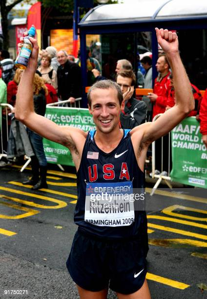 Dathan Ritzenhein of USA celebrates taking bronze in the Men's IAAF/EDF Energy World Half Marathon Championships 2009 on October 11 2009 in...