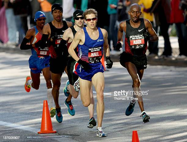 Dathan Ritzenhein Ryan Hall Meb Keflezighi and Abdi Abdirahman compete in the US Marathon Olympic Trials January 14 2012 in Houston Texas