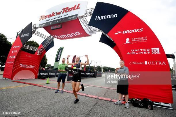 Dathan Ritzenhein wins the Humana Rock n Roll Chicago 1/2 Marathon 10K on July 21 2019 in Chicago Illinois