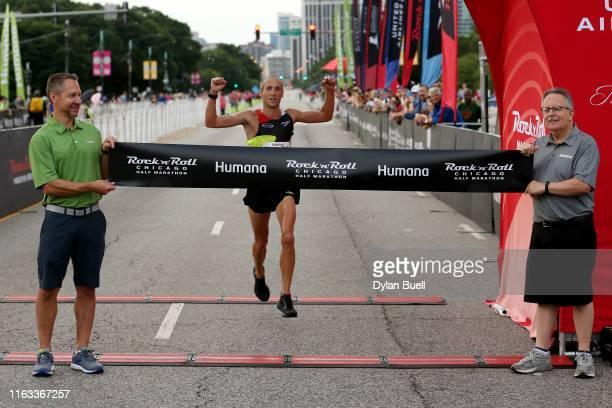 Dathan Ritzenhein wins the men's half marathon during the Humana Rock n Roll Chicago 1/2 Marathon 10K on July 21 2019 in Chicago Illinois