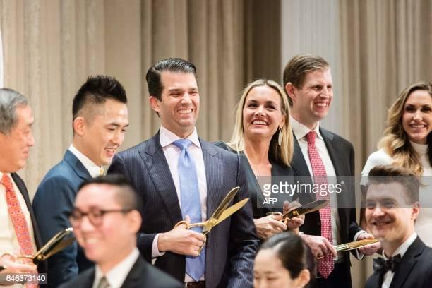 Datin Alicia Tiah Joo Kim Tiah CEO of the Holborn Group Donald Trump Jr his wife Vanessa Haydon Eric Trump and his wife Lara Yunaska cut the ribbon...