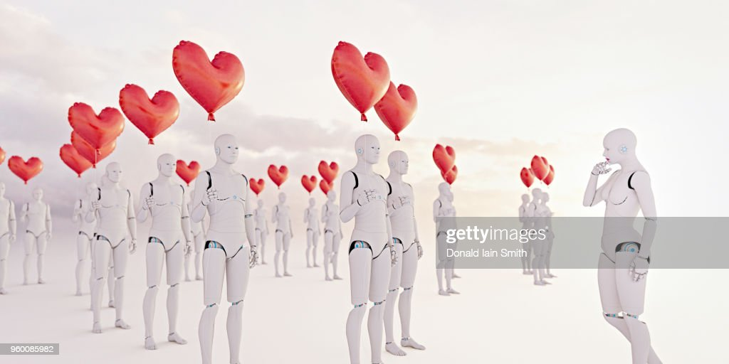 Dating concept: female robot has choice of multiple male robot clones all holding a heart shaped red balloon : Stock-Foto
