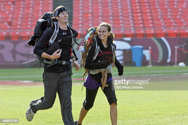 Dating models Brent and Caite race to meet host Phil Keoghan at the finish line at Candlestick Park in San Francisco CA on THE AMAZING RACE 16 Sunday...