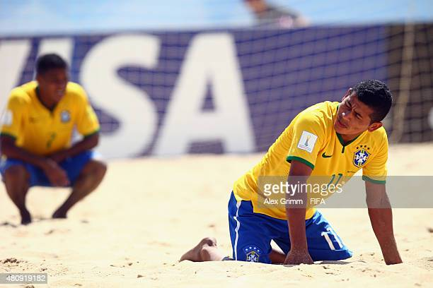 Datinha of Brazil reacts after the FIFA Beach Soccer World Cup Portugal 2015 Quarterfinal match between Brazil and Russia at Espinho Stadium on July...
