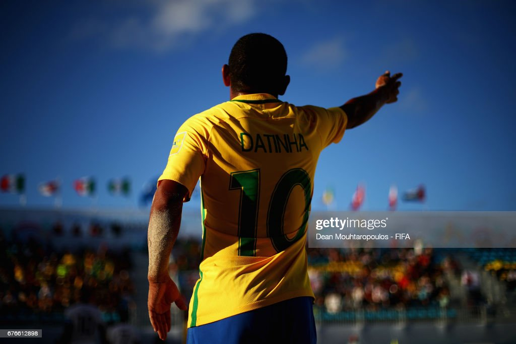 Datinha of Brazil signals to a team mate during the FIFA Beach Soccer World Cup Bahamas 2017 group D match between Braziland Japan at National Beach Soccer Arena at Malcolm Park on May 2, 2017 in Nassau, Bahamas.