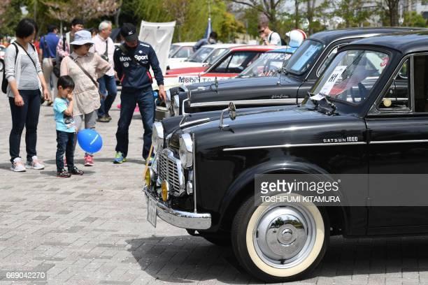 Datsun 1000 sedan is displayed during the Motor Sport Japan 2017 in Tokyo on April 16 2017 / AFP PHOTO / Toshifumi KITAMURA
