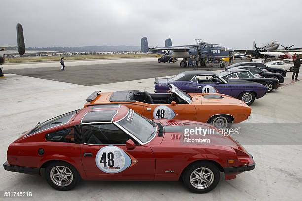 A Datsun 1983 Z280 ZX stands on the tarmac of the Camarillo Airport WWII Aviation Museum during the Friends of Steve McQueen Car Show Rally in...