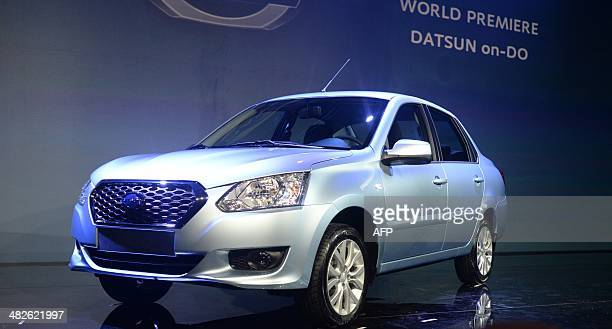 Datsun onDo a budget sedan the first model ever to be made in Russia under the Datsun brand is unveiled in Moscow on April 4 2014 AFP PHOTO / VASILY...