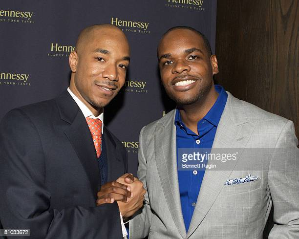 Datwon Thomas EditorInChief of XXL Magazine and Jermaine Hall EditorInChief of King Magazine pose during the Hennessy Suite Spot honoring Datwon...