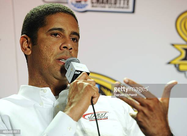 Daugherty Racing coowner Brad Daugherty speaks to the media during the NASCAR Sprint Media Tour at Charlotte Convention Center on January 27 2014 in...