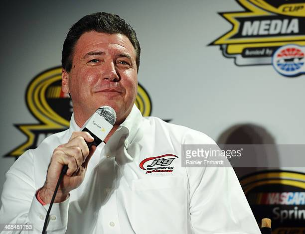 Daugherty Racing coowner Tad Geschickter speaks to the media during the NASCAR Sprint Media Tour at Charlotte Convention Center on January 27 2014 in...
