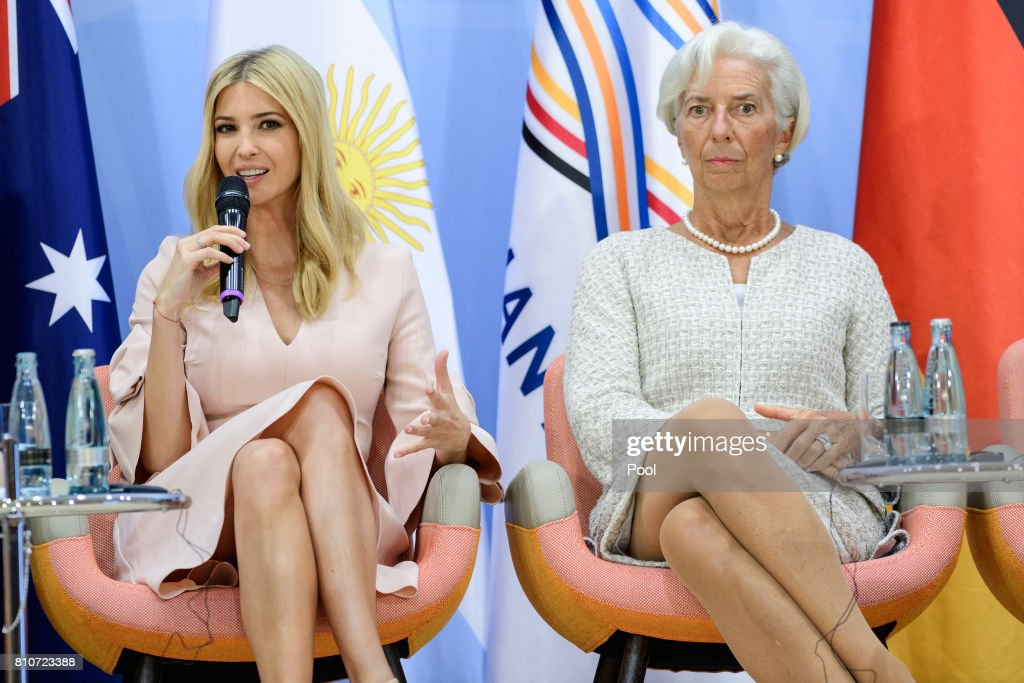 Daughter and advisor to US President Trump, Ivanka Trump and Managing Director of the International Monetary Fund (IMF), Christine Lagarde attend a panel discussion titled 'Launch Event Women's Entrepreneur Finance Initiative' on the second day of the G20 summit on July 8, 2017 in Hamburg, Germany. Leaders of the G20 group of nations are meeting for the July 7-8 summit. Topics high on the agenda for the summit include climate policy and development programs for African economies.