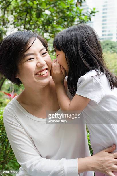Daughter and Mother Having Secrets, Hong Kong Park, China