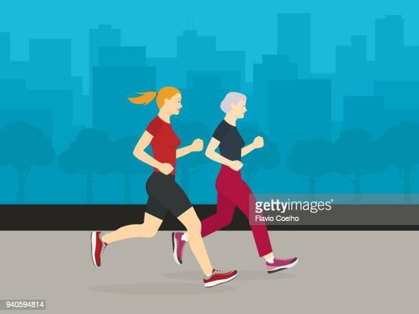 Daughter and mother jogging together illustration