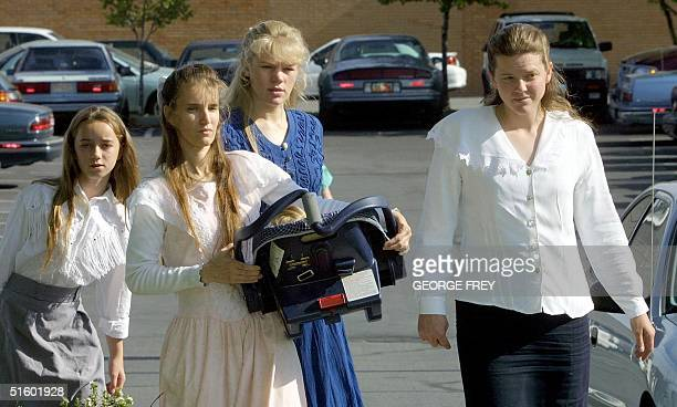 Daughter and three of Utah polygamist Tom Green wive's enter 4th District Court in Provo, Utah for start of the fourth day of his trial on bigamy and...