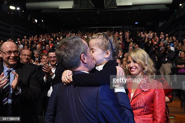Daughter Clementine greets her father Leader of the Opposition Bill Shorten at the Labor campaign launch at the Joan Sutherland Performing Arts...