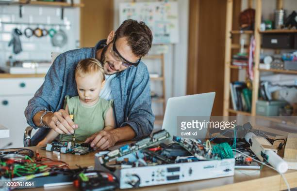 Daughter enjoy to help father at home