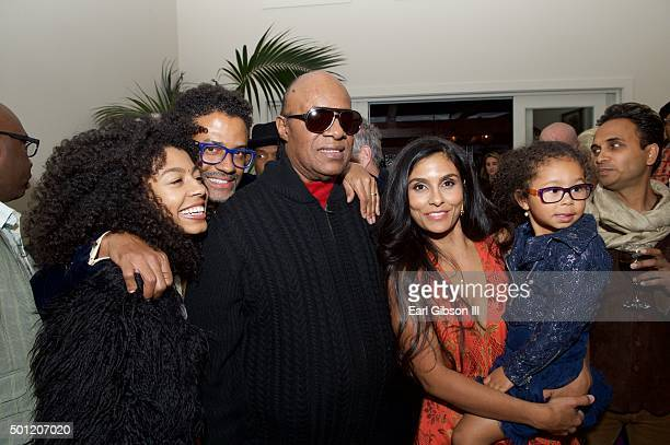 Daughter India Benet Singer/Songwriter Eric Benet Musician Stevie Wonder wife/humanitarian Manuela Testolini and daughter Lucia Bella pose for a...