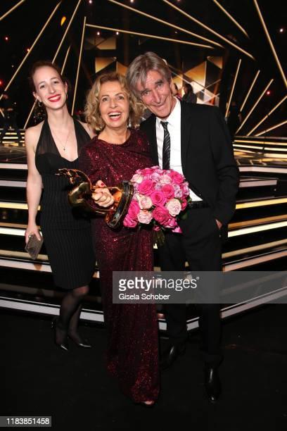 Daughter Lilian Schiffer Michaela May with award and her husband Bernd Schadewald during the 71st Bambi Awards final applause at Festspielhaus...