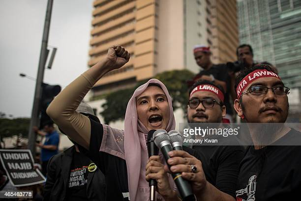 Daughter of Anwar Ibrahim Nurul Izzah speaks to supporters on a street outside of Sogo on March 7 2015 in Kuala Lumpur Malaysia Anwar Ibrahim was...