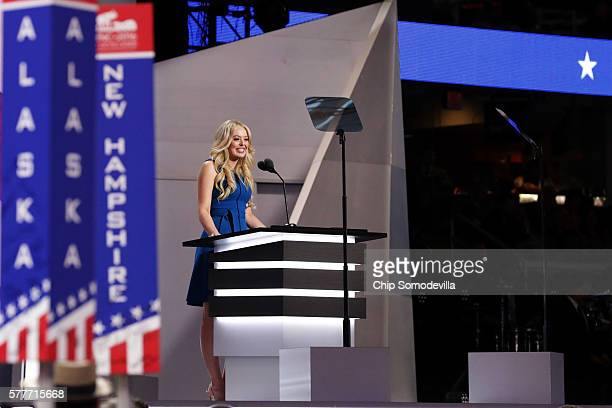 Daughter of Donald Trump Tiffany Trump delivers a speech on the second day of the Republican National Convention on July 19 2016 at the Quicken Loans...
