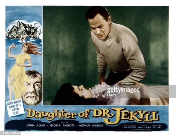 Daughter Of Dr Jekyll lobbycard from left Gloria Talbott John Agar 1957