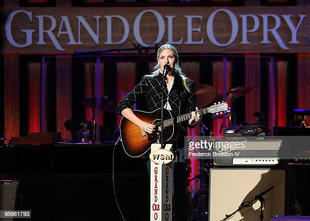 Daughter of Hank Williams Jrsinger Holly Williams performs at the Sprint Sound Speed concert at Ryman Auditorium on January 8 2010 in Nashville...