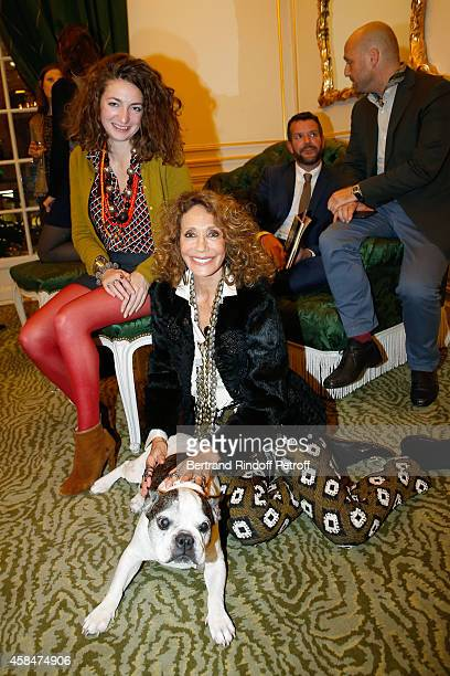 Daughter of Loulou de la Falaise Anna Klossowski de Rola Marisa Berenson and the dog of Yves Saint Laurent Moujik IV attend the 'Loulou de la...