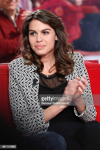 Daughter of Main guest of the show Michel Leeb Elsa Leeb attends the 'Vivement Dimanche' French TV Show at Pavillon Gabriel on January 7 2015 in...