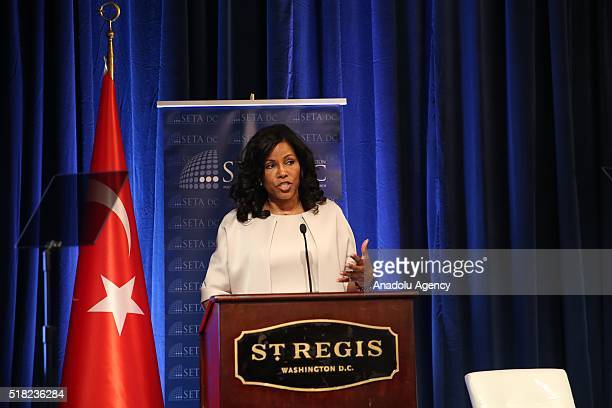 Daughter of Malcom X Ilyasah Shabazz speaks during the Syrian refugee crisis conference organized by the Foundation for Political Economic and Social...