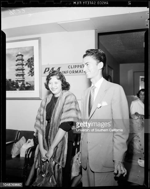 Daughter of Phillipine President arrives 26 June 1952 Mr and Mrs Luis GonzalesSupplementary material reads 'June 26 Mr and Mrs Luis Gonzales arrived...
