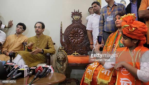 Daughter of Shiv Sena candidate Trupti Sawant clicks picture of Shiv Sena Chief Uddhav Thackeray and Yuva Sena Chief Aditya Thackeray during the...