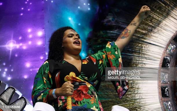 A daughter of slain Rio de Janeiro councilwoman Marielle Franco Luyara Santos performs with the VaiVai samba school during the second night of...