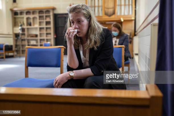 Daughter of the late Eric Stonestreet Victoria reacts during the service of her father at Ipswich Crematorium on May 5 2020 in Ipswich England Eric...