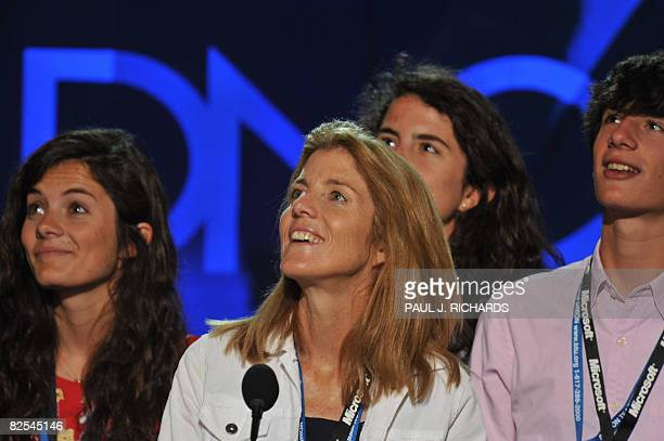 Daughter of the late President John F Kennedy and Jackie Kennedy Caroline Kennedy Schlossberg is seen with her children Tatiana and Jack during a...