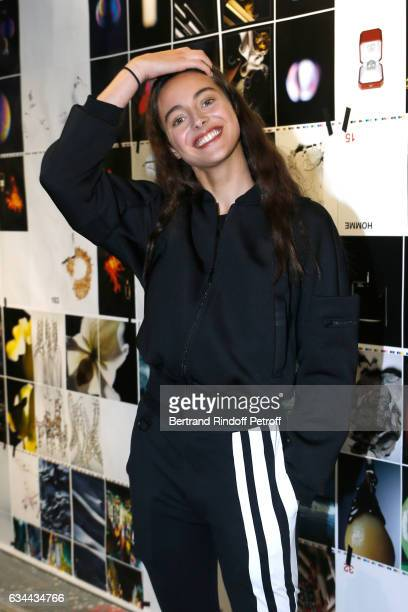Daughter of Yannick Noah model Jenaye Noah attends the Launching of the Book 'Mocafico Numero' at Studio des Acacias on February 9 2017 in Paris...